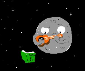 The moon is learning the ukulele