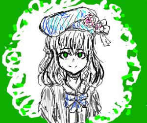 Green eyed anime schoolgirl