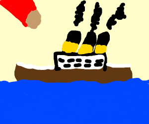 Meteorite striking a ship