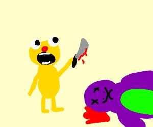 Yellow Elmo killing Barney
