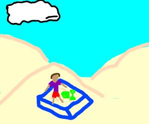 A sandbox in the desert