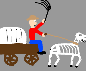 skeleton horse hooked up to a carriage