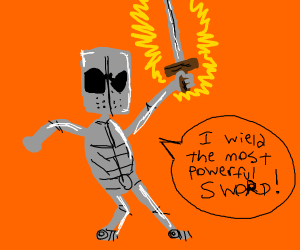 a knight with a magical demon sword