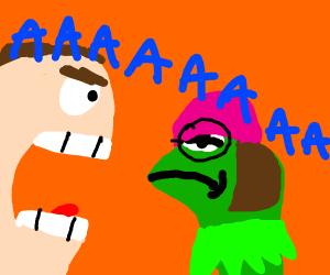 guy screams at kermit dressed as meg griffin