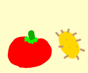 tomato is angry at yellow bacteria