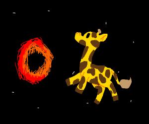 Giraffe in space near a black hole