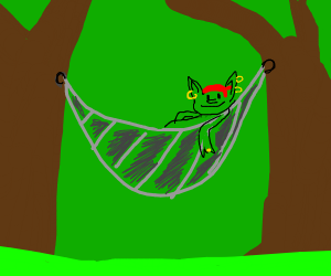 Goblin chilling out in a hammock