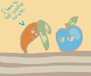 carrot tells blue apple the truth