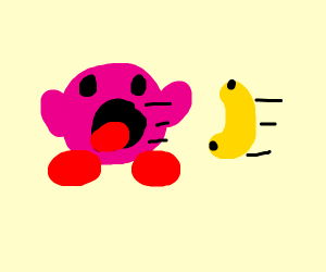 Kirby inhales a banana