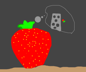 A strawberry thinking of jumping off a tower.