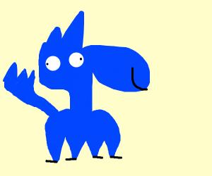 a blue derpy wolf