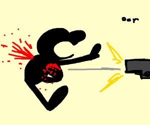 Mr game & watch gets shot