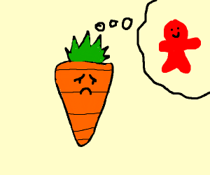 Sad carrot misses his red friend.
