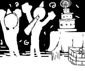White silhouettes birthday party