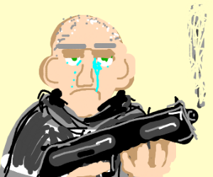 crying thug with a gun