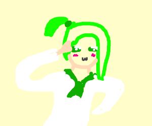 Anime cute green girl p o i