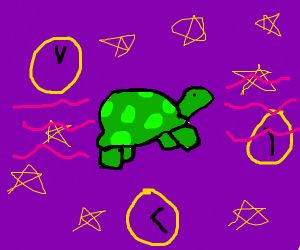 tortise flying through space and time
