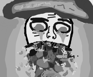 sad pirate with a beard madeoutof vegetables?