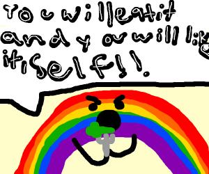 Rainbow force feeding himself brocoli