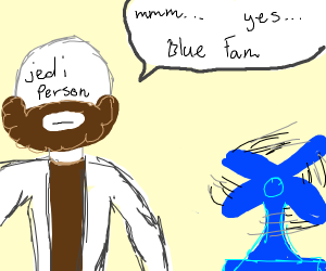 Jedi person with a braid looks at a blue fan