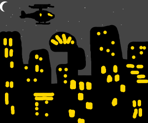 helicopter above city