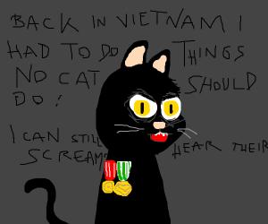 Cat suffering from PTSD