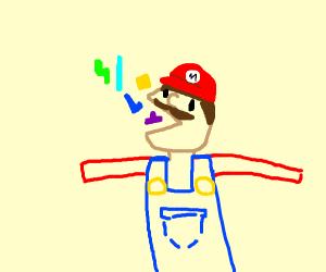 Mario is PacMan eating Tetris Block