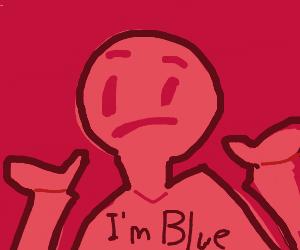 Blue person shrugging