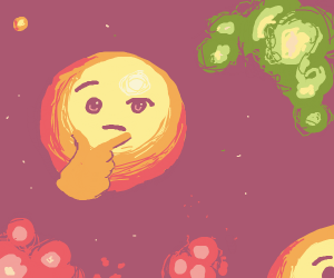 Thinking emoji planets in space