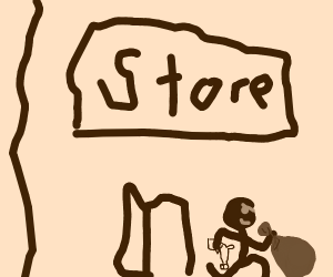 a stick man robbing a store with a falic gun