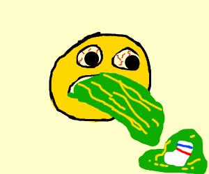 Emoji vomiting a Sock