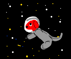 Clifford in space wearing astronaut suit