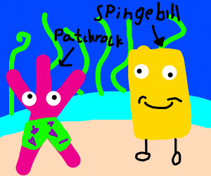 spingebill and patchrock(ripoff spongebob)
