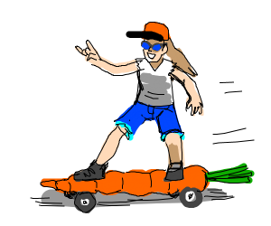 person on a carrot skateboard
