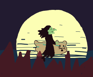 Witch with no hat rides with her ghost kitty