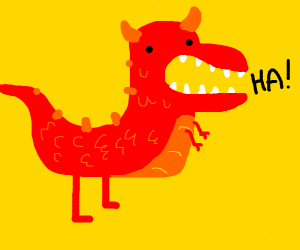 Laughing red dinosaur