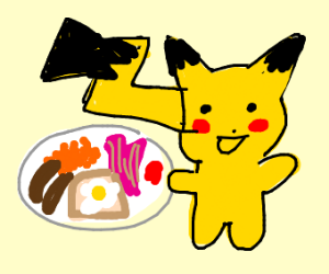 pikachu eating brunch