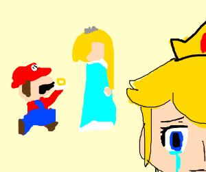 Mario confesses to Rosalina (peach is sad)