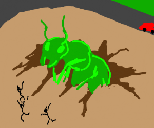 Giant green ant climbing out of the ground