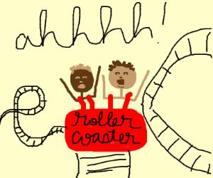 A couple enjoying a roller coaster