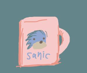 a pink mug with sanic on it