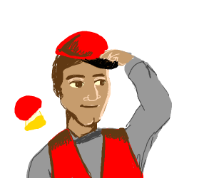 Man w/ red vest switches from mushroom to cap