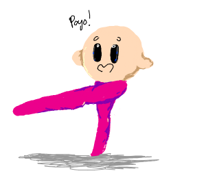kirby, but with detailed muscular legs