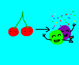 cherries can be turned into partying grapes