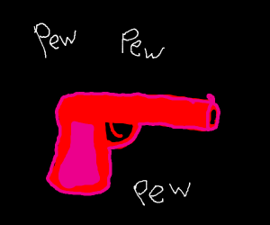 poorly drawed red pistol