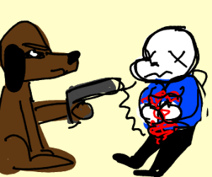 dog shooting sans