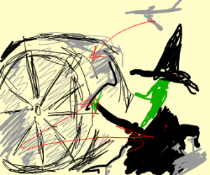 Witch making a jet engine
