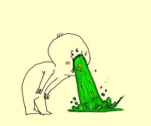 Guy vomits
