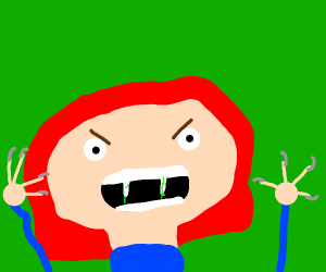 red haired lady with venom mouth