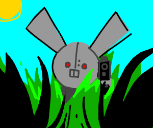 evil robot bunny hiding in grass